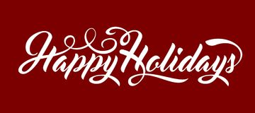 Happy Holidays text. Happy Holidays calligraphic text on red background stock illustration