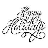 Happy Holidays text. Happy Holidays calligraphic text on white background. n stock illustration