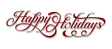 Happy Holidays text. Happy Holidays calligraphic text on white background. n