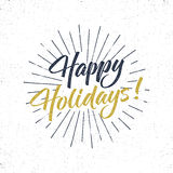 Happy Holidays text and lettering. Holiday typography Vector Illustration. design. Letters with sun bursts and halftone. Texture. Use as photo overlay, place to Royalty Free Stock Photography