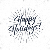 Happy Holidays text and lettering. Holiday typography Vector Illustration. design. Letters with sun bursts. Use as photo overlay, place to card, prints, t Royalty Free Stock Images