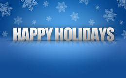 Happy Holidays Text Logo on Snowflake Background Stock Photos