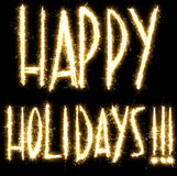 Happy Holidays text made of sparkler Royalty Free Stock Photos