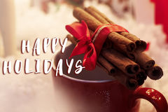 Happy holidays text sign on cinnamon sticks with ribbon on red c royalty free stock photography