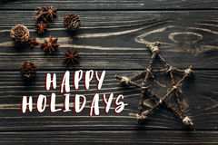 Free Happy Holidays Text Sign On Stylish Simple Star And Anise And Pi Stock Image - 98805711