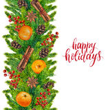 Happy holidays text with watercolor seamless border. Of fir branches, cones and red berries, christmas text on watercolour xmas background for greeting card Stock Image