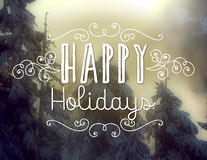 Happy Holidays. Text on winter background Royalty Free Stock Images