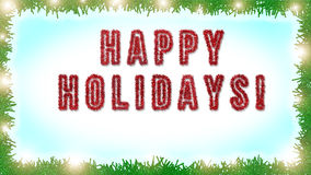 Happy Holidays text written on  blue and white background  Stock Photos