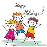 Happy holidays, three cheerful kids on white background, vector funny illustration. Stock Images