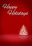 Happy Holidays Tree 3D Card Background Stage. Happy Holiday Tree Blank 3D Greeting Card Background Template Stock Photo