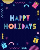 Happy Holidays. Trendy geometric font in memphis style of 80s-90s. Text, gifts and abstract colored shapes on dark blue background royalty free illustration