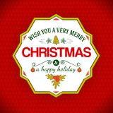 Happy holidays typography greetings at geometric label Royalty Free Stock Images