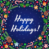 Happy Holidays vector blue card Royalty Free Stock Image