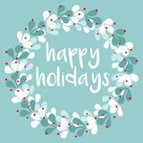 Happy Holidays vector card with wreath Stock Photography