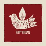 Happy Holidays vector cream bird greeting card on red background. Ideal for fabric, textiles, print on demand, stationery. Use on Holidays like Christmas and royalty free illustration