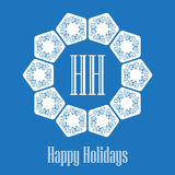Happy Holidays - vector text on blue background for invitation a Stock Photography