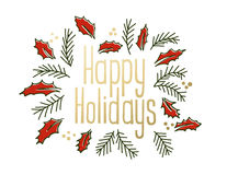 Happy Holidays vintage greeting card. With jolly and christmas tree branches. Vector illustration Royalty Free Stock Image