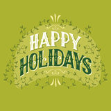 Happy holidays vintage hand-lettering Royalty Free Stock Image