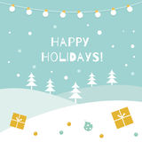Happy Holidays Winter Background. Garland of Lights and Snow Landscape Royalty Free Stock Images