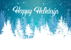 Happy Holidays Winter Mountain Forest Landscape Background Stock Images