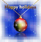 Happy holidays wishes on glass background. Happy holidays wishes, Cristmas ball and stars on a glass background royalty free stock images