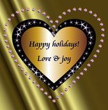 Happy holidays wishes and stars heart. Happy holidays wishes on a golden heart surrounded by star and Christmas balls hearts Royalty Free Stock Image