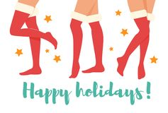 Happy holidays. Woman legs vector illustration