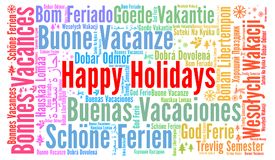 Happy holidays word cloud in different languages Royalty Free Stock Images