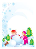 Happy hollyday children's. Boy and girl make a snowman, green tree, brown dog, snowflake, isolated, frame Royalty Free Stock Image