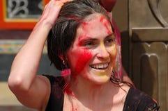 Happy Holy!. Girl celebrating colorful Hindu holiday Royalty Free Stock Photos
