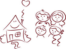 Happy Home and Happy Family royalty free illustration