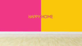Happy home text on dualtone color wall Stock Photography