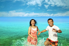 Happy honeymoon. Portrait of young couple happy honeymoon Stock Photo
