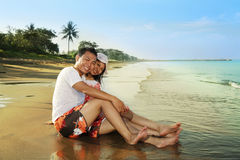 Happy honeymoon. Portrait of young couple happy honeymoon Stock Photography