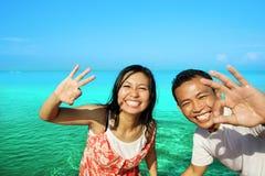 Happy honeymoon. Portrait of young couple happy honeymoon Royalty Free Stock Photos