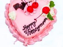 Happy honeymoon cake present Stock Photos