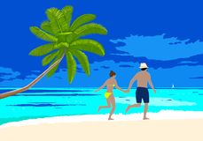 Happy honeymoon couple on the beach scene. Man and woman holding hands walking along the seashore, running on a sandy beach. Vector concept romantic vacation vector illustration