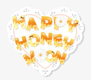 Happy honeymoon letters on the lacy doily. Pattern with honeycomb is full under clipping mask. Royalty Free Stock Images