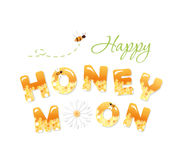 Happy honeymoon letters. Pattern with honeycomb is full under clipping mask. Royalty Free Stock Photo