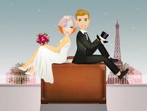 Happy honeymoon in Paris. Funny illustration of happy honeymoon in Paris Royalty Free Stock Images