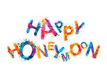 Happy honeymoon. Splash paint Royalty Free Stock Photos