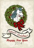 Happy horse Christmas English wishes card. Happy horse chinese zodiac sign in Christmas wreath green holly leaves and red berries with big red bow vintage colors Vector Illustration