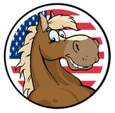 Happy horse face over an american circle Stock Photography