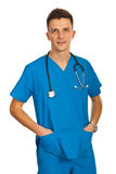 Happy hospital worker Stock Images