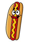 Happy hot dog with moustard Royalty Free Stock Photography