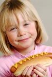 Happy Hotdog girl. Royalty Free Stock Photo