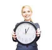 Happy Hour. Confident Friendly Young Caucasian Business Woman Holding A Large Clock In Hands Showing The Success And Joy Of Good Office Timekeeping In A Happy Royalty Free Stock Photo