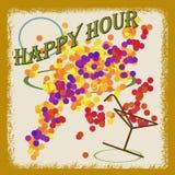 Happy hour abstrato do fundo escrito para dentro, ilustração do vetor Foto de Stock Royalty Free