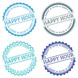 Happy hour badge isolated on white background. Flat style round label with text. Circular emblem vector illustration Stock Photo