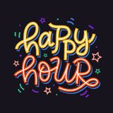 Happy hour badge sign. Hand written colorful creative lettering. Banners, flyers, posters, cafe bar menu design. Retro style. Vector typography stock illustration